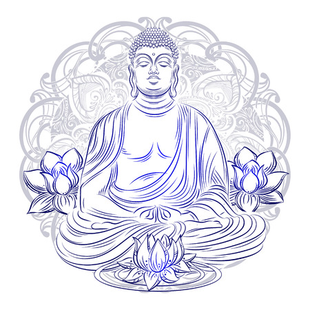 Buddha sitting in the lotus position with an illuminated face on the background of the mandala Banco de Imagens