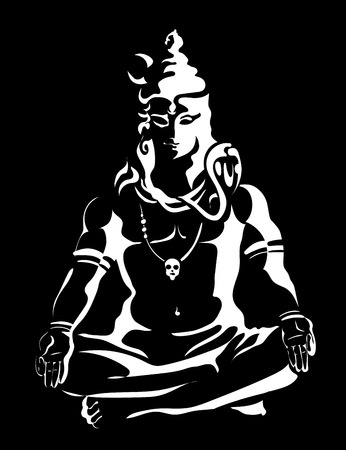 Lord Shiva in the lotus position. Black and white vector illustration