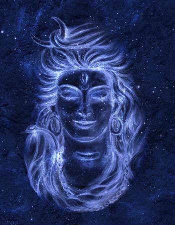 Transcendentaal spiritueel beeld van Lord Shiva op de achtergrond van de kosmos. Gurudeva. Mahamaya. Digitale kunst. Stockfoto