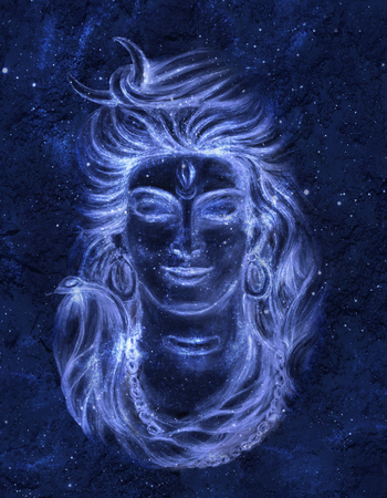 Transcendental spiritual image of Lord Shiva in the background of the cosmos. Gurudeva. Mahamaya. Digital art.