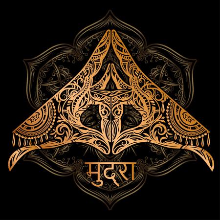 Ornate spiritual symbols Yoga mudra. Vector illustration with an inscription in Sanskrit - Mudra. Ethnic patterned illustration in Boho style Illustration