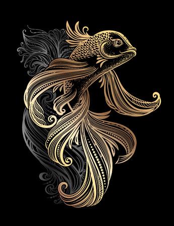 鯉鯉のタトゥー  イラスト・ベクター素材