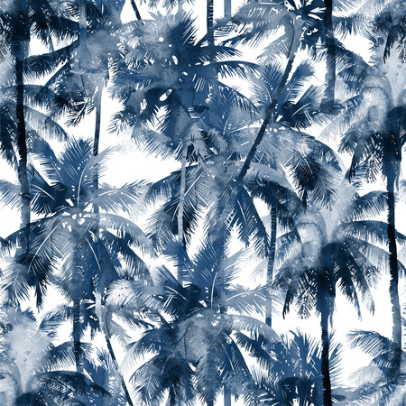 Tropical watercolor pattern. Palm trees and tropical branches in seamless wallpaper on a white background. Digital art. Can be used for manufactory and textiles