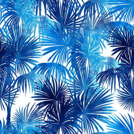 Imprints a tropical palm background. Seamless hand drawn pattern with a watercolor texture. Botan for textile background for textile and factory. Boho style.