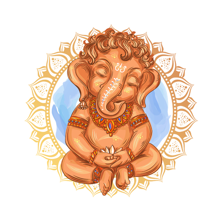 Cute toddler Lord Ganesha holds a lotus - isolated vector illustration. Indian Festival of Ganesh Chaturthi. Ganesha -Ganapati. Ilustração