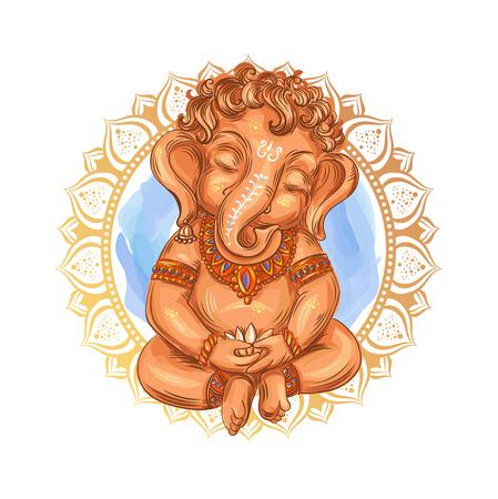 Cute toddler Lord Ganesha holds a lotus - isolated vector illustration. Indian Festival of Ganesh Chaturthi. Ganesha -Ganapati. Illustration