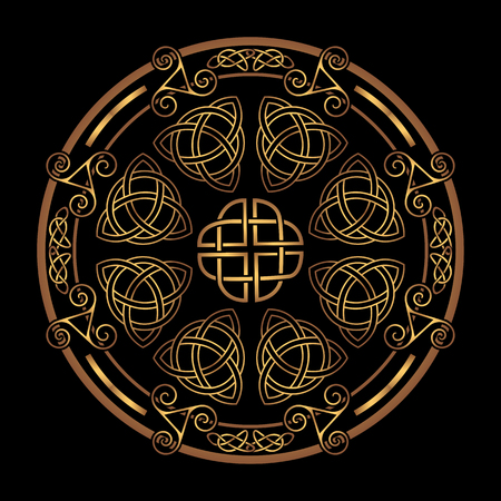 Golden Ancient pagan Scandinavian sacred symbol and ornament of the Druids