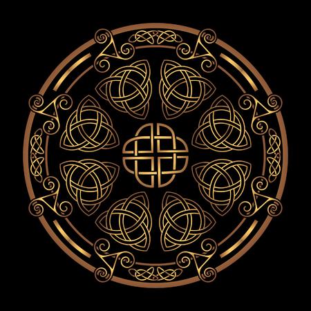 Golden Ancient pagan escandinavo símbolo sagrado y el ornamento de los druidas