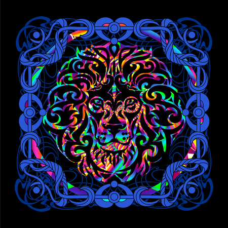 The head of a lion is a psychedelic painting in a retro style. Popular vintage graphics posters and posters from the 1960s to the 1980s. Art Nouveau and Hippie art. Goa trance art.