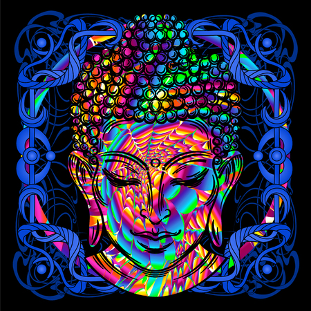 Head of a Buddha is a psychedelic painting. Illustration
