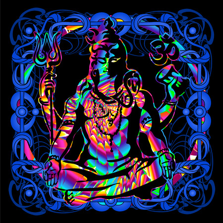 Lord Shiva is a psychedelic painting.