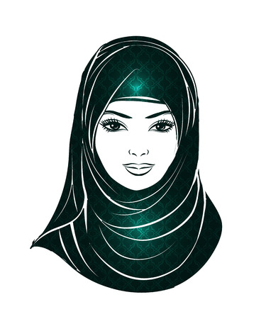 Isolated portrait of Islamic woman in the Muslim hijab