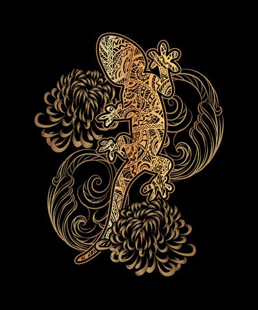 De overladen gouden hagedis verfraaide etnische ornamenten en weelderige patronen met een mandala en zilveren golven op een zwarte achtergrond. Voor tatoeage, embossing, bedrukken van stoffen, ontwerp van T-shirts