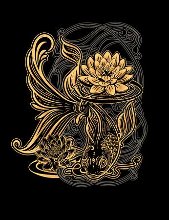 Hand getekend Aziatische spirituele symbolen - gouden koi-karper met lotus en golven op een zwarte achtergrond. Het kan worden gebruikt voor tatoeage en embossing of kleuren