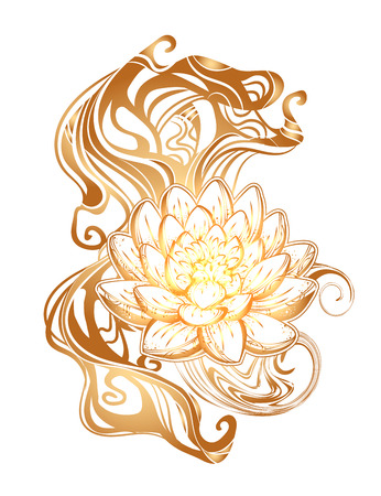 Hand drawn beautiful artwork of isolated ornate Lotus for tattoo, printing on T-shirt, coloring books. Vector illustration.