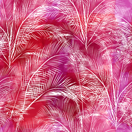 twigs: Tropical background seamless pattern of imitation of watercolor palms. Botanical vector wallpaper Illustration