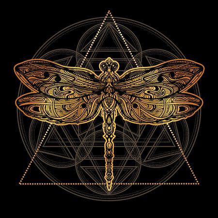Dragonfly vector tattoo Çizim
