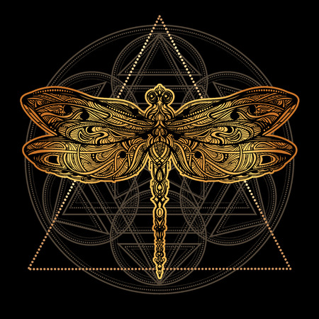 Dragonfly vector tattoo Illustration