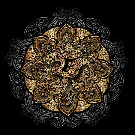 mantra: golden OM mandala vector illustration.