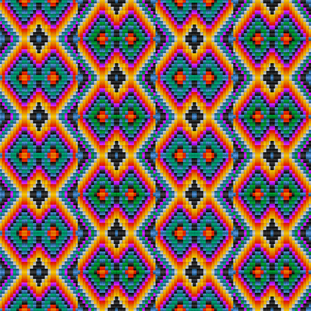 Seamless ethnic tribal pattern in Mexican and Peruvian colors, imitating yarn and woven fabric Illustration