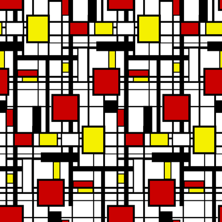 Seamless geometric pattern in modern Mondrian style.