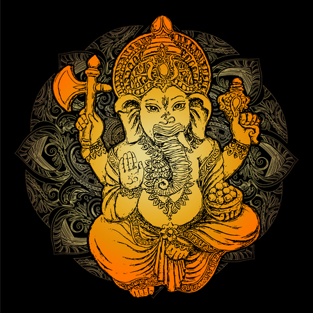Golden Lord Ganeshaon black background.