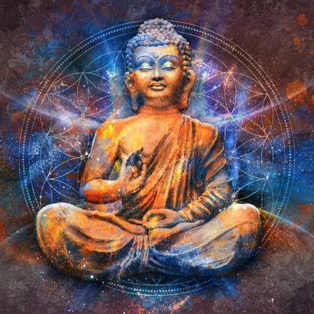 蓮のポーズで仏陀の坐像