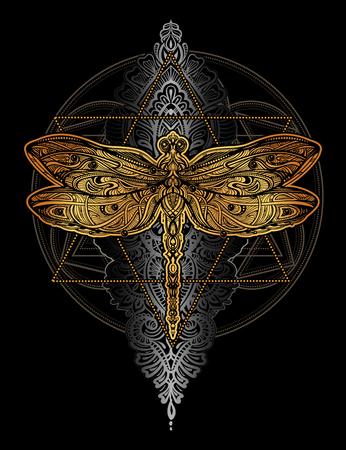Exquisite ornate stylized dragonfly on black background. Illustration