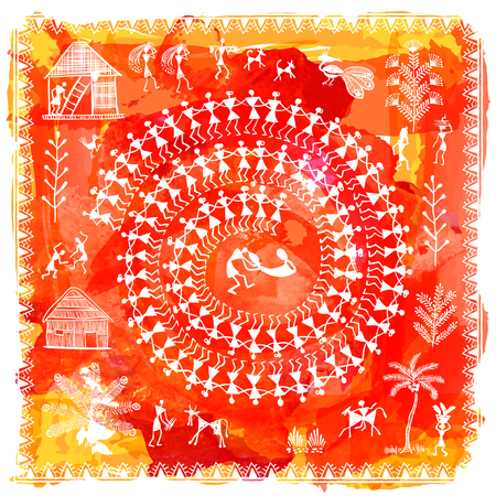 Warli painting - hand drawn traditional the ancient tribal art India. In the style of Indian kitsch matched by a rudimentary technique depicting rural life of the inhabitants of India Illustration
