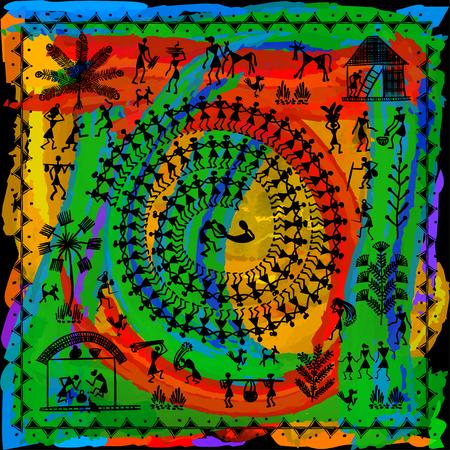 Pittura di Warli - disegnata a mano tradizionale l'antica arte tribale India. Nello stile del kitsch indiano abbinato a una tecnica rudimentale raffigurante la vita rurale degli abitanti dell'India Archivio Fotografico - 90426757