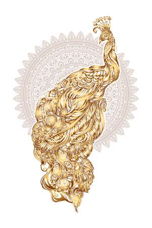 golden peacock tattoo on mandala background and mehendi orient ornament