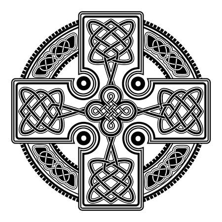 Isolated Celtic cross from national Scandinavian ornament. Symbol of Druids, Ireland and Scotland. 向量圖像