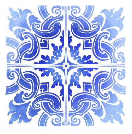 Azulejos Portuguese blue pattern watercolor Vector illustration. Çizim