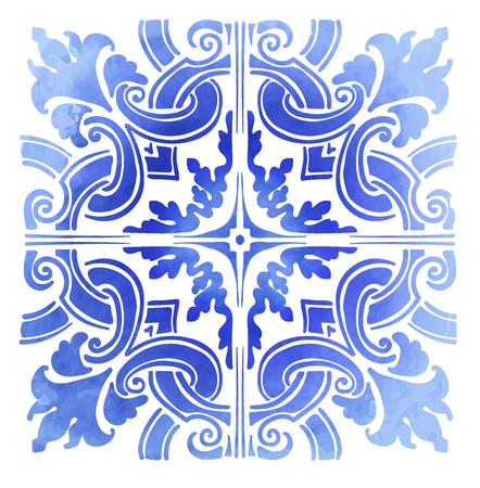 Azulejos Portuguese blue pattern watercolor Vector illustration. Vettoriali