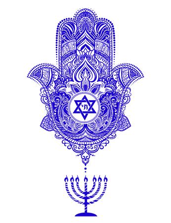 A jewish hamsa tattoo isolated on plain background 일러스트
