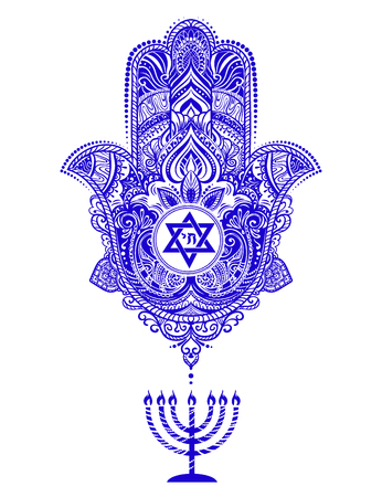 A jewish hamsa tattoo isolated on plain background Vettoriali
