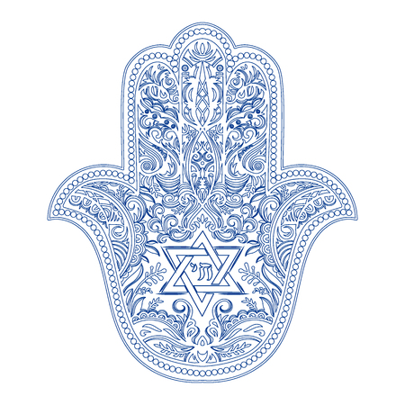 jewish hamsa tattoo Illustration