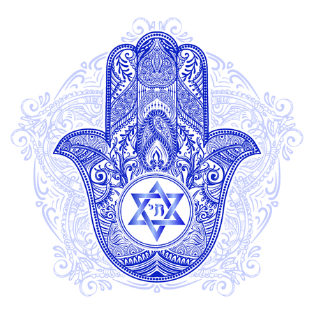 A jewish hamsa tattoo isolated on plain background Vettoriali