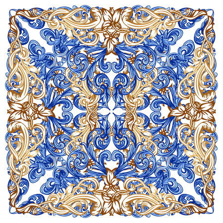 Azulejos Portuguese Dutch tile in shades of blue and yellow colors pattern. Baroque tiles. Vector Baroque. Rococo  イラスト・ベクター素材