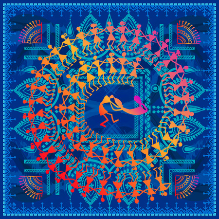 Warli painting - hand drawn traditional the ancient tribal art India. In the style of Indian kitsch matched by a rudimentary technique depicting rural life of the inhabitants of India 일러스트