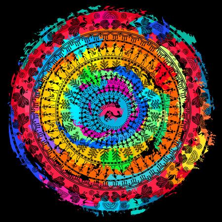 Round Warli tribal art