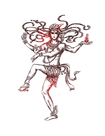 Dancing Lord Shiva. Transcendental divine cosmic dance. Mahashivaratri Poster. Isolated hand drawn Vector sketch