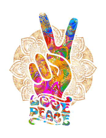 Retro hippie symbol illustration on white background.