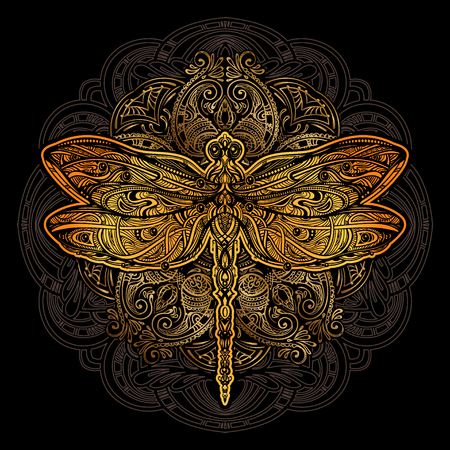 Dragonfly vector tattoo Иллюстрация