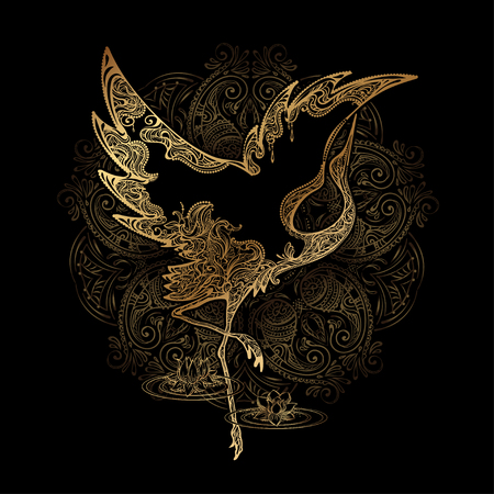 tattoo dancing crane Stock Illustratie
