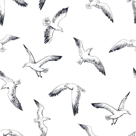 gulls seamless pattern Illustration