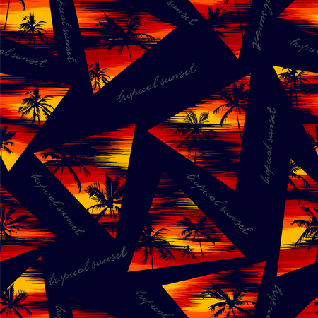 tropical seamless wallpaper of silhouettes of coconut trees against the backdrop of a bright sunset and a handwritten inscription - a tropical sunset Illustration