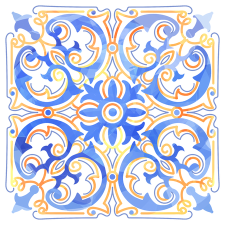 Azulejos Portuguese Dutch tile in shades of blue and yellow colors pattern. Baroque tiles. Vector illustration Vettoriali