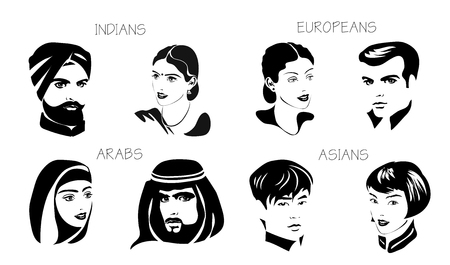 Vector set of isolated different nationality man and woman - Indians, Arabs, Europeans, Asians