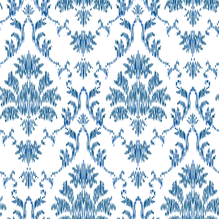 Ikat Ogee et Damas ornement Motif de fond sans couture dans le style de la tapisserie. Abstrait pour la conception textile, papier peint, textures de surface Vecteurs